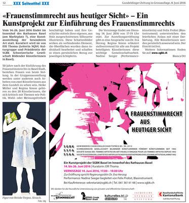 """Gundeldinger Zeitung 8.Juni 2016, """"Frauenstimmrecht aus heutiger Sicht - Ein Kunstprojekt zur Einführung des Frauenstimmrechts"""" von Bianca Ott"""