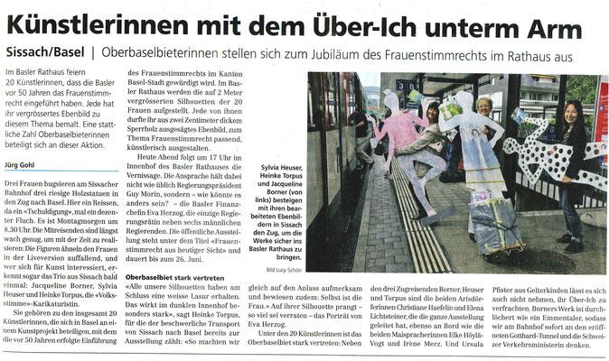 """Volksstimme 14.6.2016 """"Künstlerinnen mit dem Über-Ich unterm Arm"""" von Jürg Gohl"""