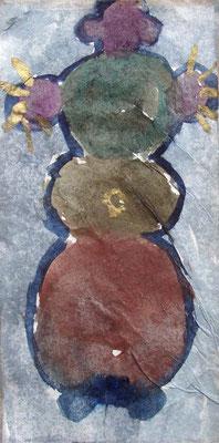 Kartoffelkönigin, 6/14 cm, Mischtechnik auf Seidenpapier