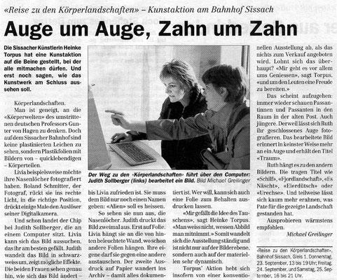 """Volksstimme Sissach, """"Auge um Auge, Zahn um Zahn"""", Michael Greilnger"""