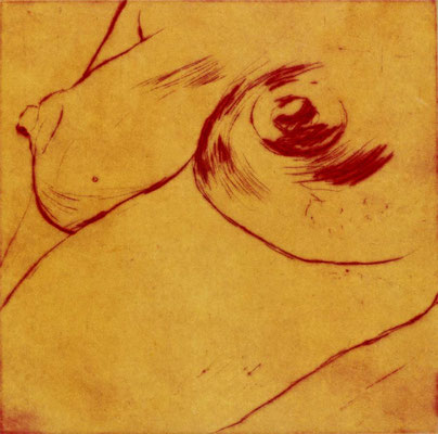 Brüschdli, 12/12 cm, Radierung auf Büttenpapier