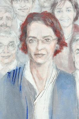 Umgeben von nahezu nur Männern - die einzige weibliche Regierungsrätin von Baselstadt im Jahre 2016: Frau Dr. Eva Herzog. Sie steht hier als Symbol für die heutigen Frauen, die Gebrauch von ihren Möglichkeiten machen.