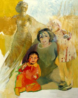 """""""Rita mit ihren Enkelinnen"""" (Athene im Hintergrund), Eitempera auf Leinwand, 100/70 cm, ca. 2004 und 2010"""