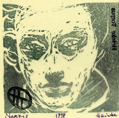 Narzis, 12/12 cm, Gummidruck auf Cellophan