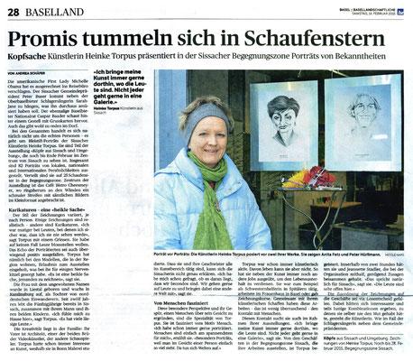 """""""Hier tummeln sich Promis in den Schaufenstern"""", Andrea Schäfer, bz Basellandschaftlichen Zeitung vom 14.02.2015"""