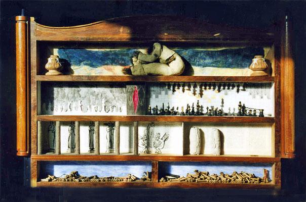 Wie im Himmel, so auf Erden, 120/77 cm, div. Materialien in Kommodenfront
