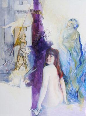 """""""Viola"""",  (mit Aphodite, Jeanne d'Arc, Hörner von Steinbock), Acryl auf Leinwand, 70/50 cm, ca. 2005"""