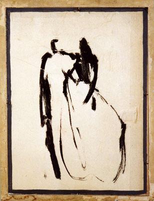 las bodas/Hochzeitspaar, 26/35 cm, Tusch auf Karton