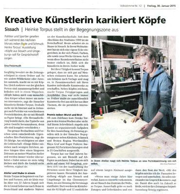 """""""Kreative Künstlerin karikiert Köpfe"""", Sina Freiermuth, Volksstimme vom 30.01.2015"""