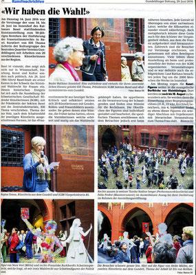 """Gundeldinger Zeitung, 29. Juni 2016, """"wir haben die Wahl"""" von Bianca Ott"""