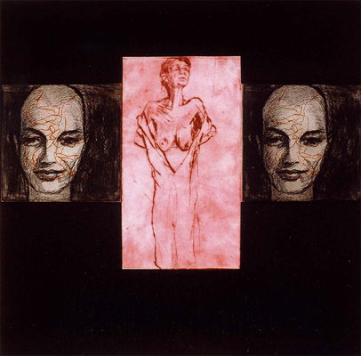 Alte Frau mit ihren Wächterinnen, 37/37 cm, Radierung