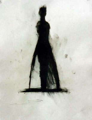 Königin, ca. 20/30 cm, Kohle auf Papier