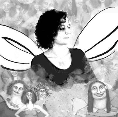 """""""Freiflug"""", T.N., 41 Jahre, Künstlerin. Es handelt sich um das Porträt von T.N. mit vier ihrer Engelbilder. - Nach längerem Reden über dies und das frag ich: """"So, fangen wir an?"""" """"Gut."""" Sie zieht ihren Mantel aus und setzt sich hin. """"Da muss ich dir zuers"""