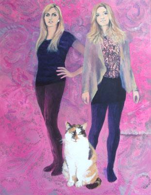 """""""Schwestern mit ihrer Katze"""", Acryl auf Leinwand, 70/50 cm, 2013"""