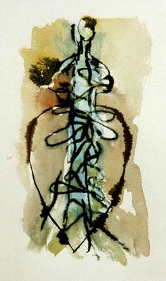 Darm-Dame, 10/17 cm, Mischtechnik auf Papier