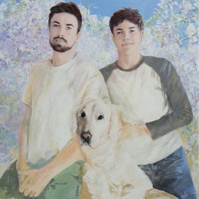 """""""die Jungs"""" - Brüder mit ihrem Hund, Acryl auf Leinwand, 100/100 cm, 2017"""