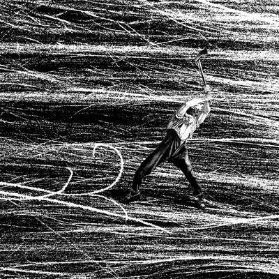 Haarspalter, 20/20 cm, Laserprint auf Alu