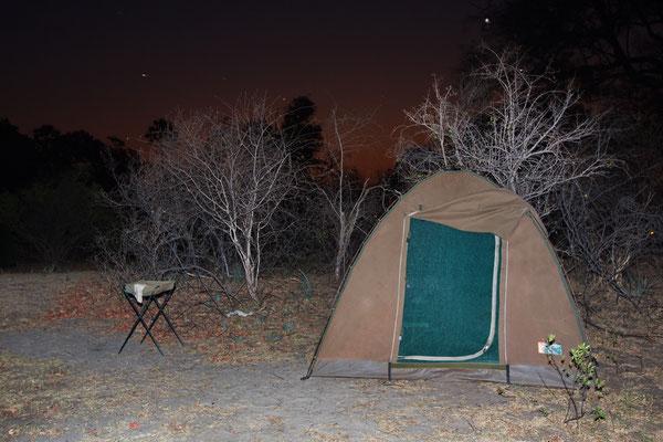 mein Zelt am Sambesi vor dem Abendhimmel