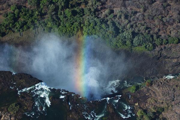der Wasserfall mit Regenbogen