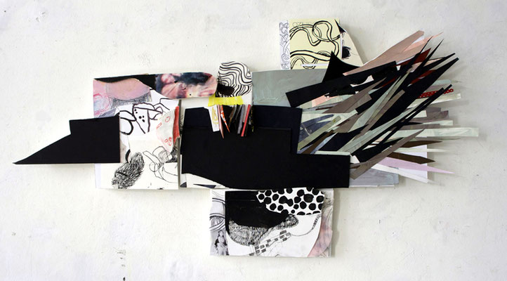 o.T., Relief-Collage, Karton, Papier, Tusche, Foto, 42 x 83 x 4 cm, 2020