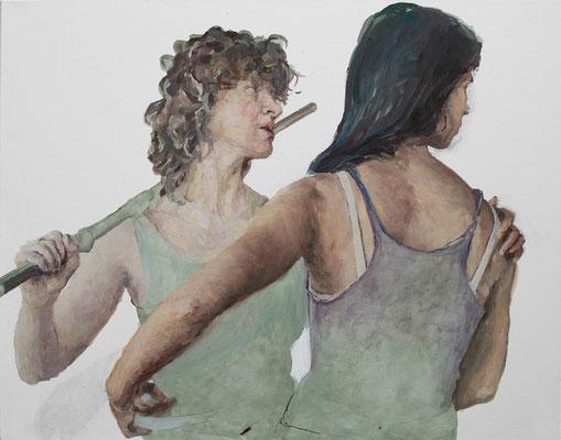 Heleen und Joana probieren für Judith, Öl auf Leinwand 2019, 70x90cm