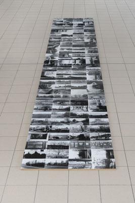Geschichten von der Wuhle begehbare Bodencollage auf MDF-Platten, 2018, 623x89 cm (c) Gerhard Haug, Berlin