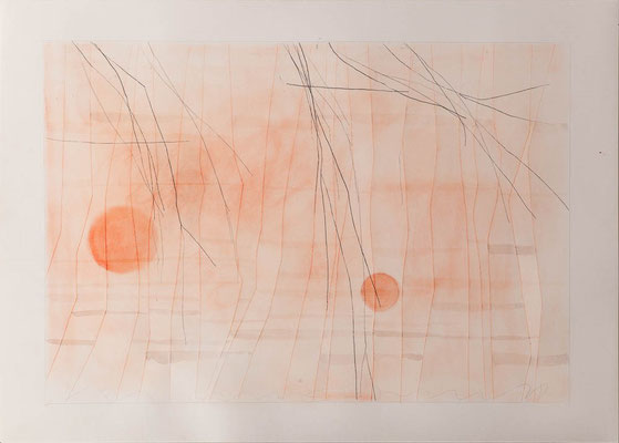 In den Birken III, Pigment, Stift, Messer-Papier, 30 x 40 cm, 2018