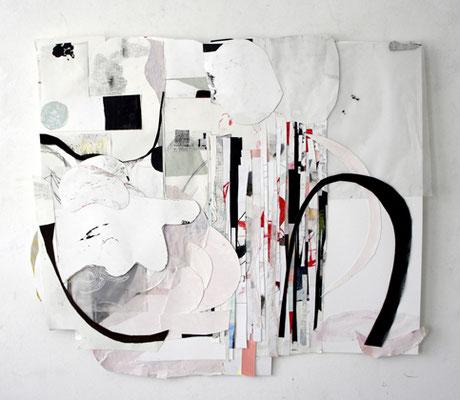 o.T., Relief-Collage, Papier, Karton, Stift, Reliefcollage, 70 x 80 x 3 cm, 2018
