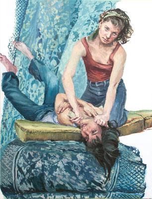 Heleen und Joana probieren für Judith, Öl auf Leinwand 2019, 160x120cm