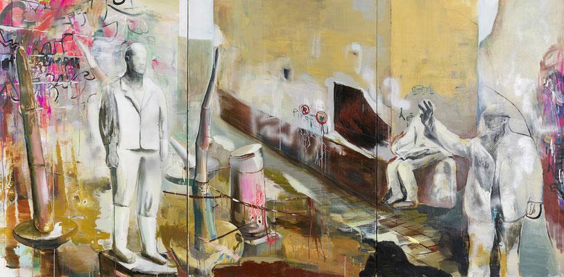 Ein junger Mann, der zu einer Statue geworden ist, 150x300cm, Acryl auf Leinwand, 2015/16