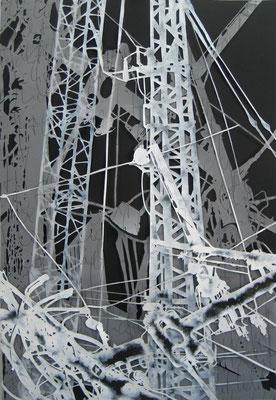 Under Construction 2018, Papierschablone Acryl, 100x 70 cm