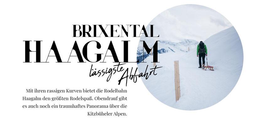 Mit ihren rassigen Kurven bietet die Rodelbahn Haagalm im Brixental, Hopfgarten, den größten Rodelspaß. Obendrauf gibt es auch noch ein traumhaftes Panorama über die Kitzbüheler Alpen. #mountainhideaways #rodelbahn