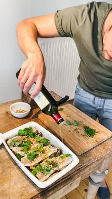 Kochrezept | Südtiroler Küche | Christoph Huber | Wolfsbarsch mit Schmorgemüse