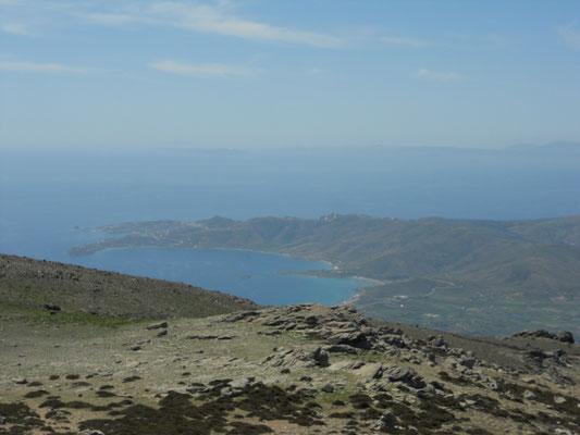 Aussicht vom Mount Ochi nach Karystos