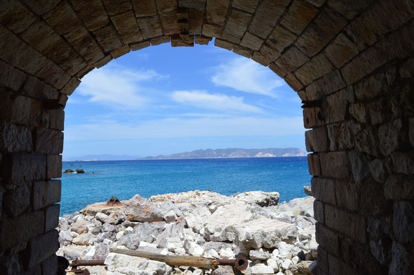 View from the entry of the old sulfur mine, Milos