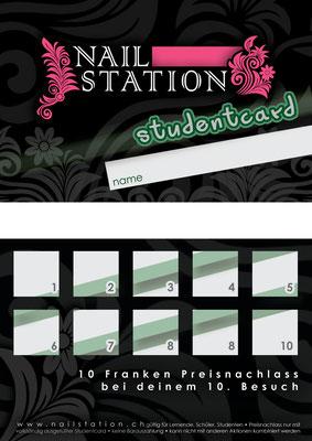 Treuekarte im Visitenkartenformat für eine Nail-Artistin