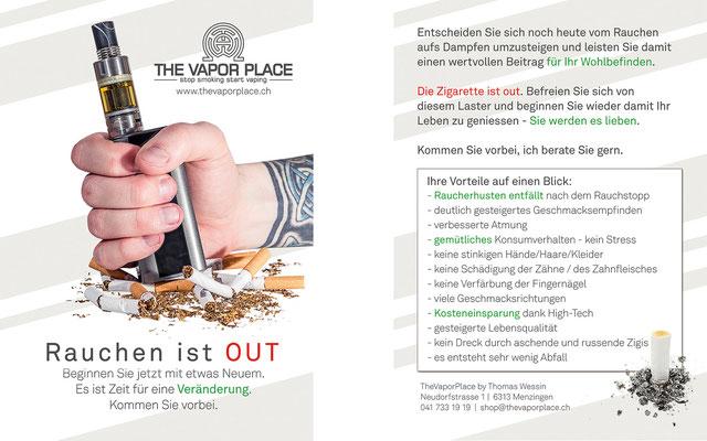 Werbeflyer für einen Dampfershop (www.thevaporplace.ch)