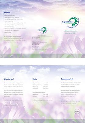 6-seitiger Folder für ein privates Pflege-Unternehmen (www.alphaclear.ch)