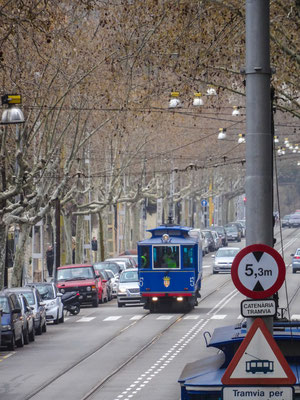 Die blaue Straßenbahn