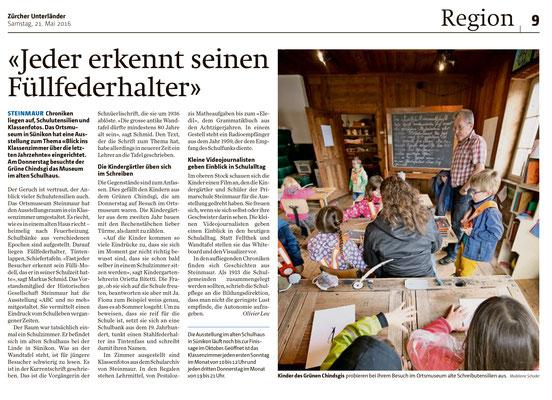 Zeitungsbericht vom 25. Mai 2016, Zürcher Unterländer