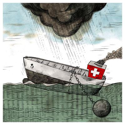 Le Temps - La fin du taux plancher pour le franc suisse. ©2016