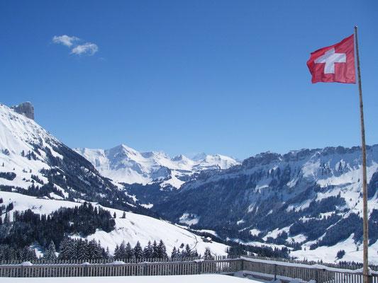 Aussicht in die Berner- und Walliseralpen