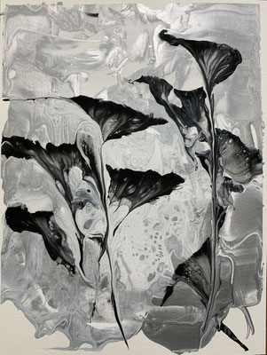Black and  White Garden- String and Pour Acrylic Lois Wilkes