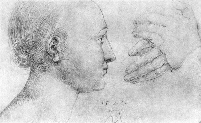 """Studien zu einem großen """"Marienbild"""": Mädchenkopf und Händepaar"""