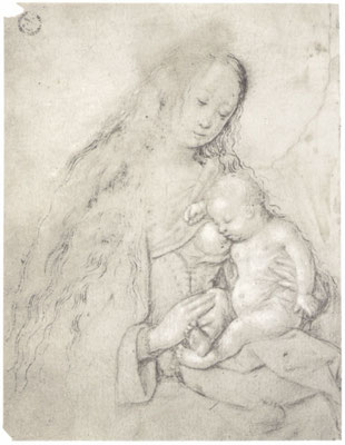 Maria mit dem schlafenden Kind an der Brust