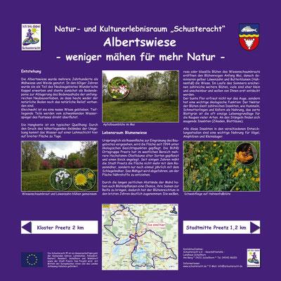 """Schusteracht Infotafel """"Albertswiese"""" am Postsee in Preetz"""