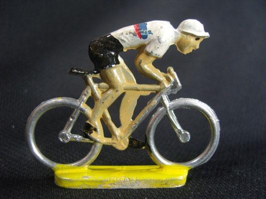 Cycliste en sprint Maillot Blanc 2 lignes Bleu et Rouge