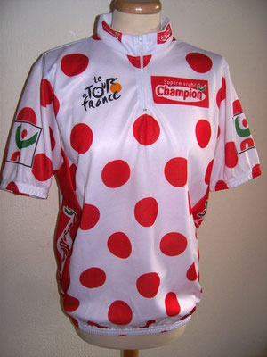 Maillot blanc à pois rouge CHAMPION  Tour de France 2004
