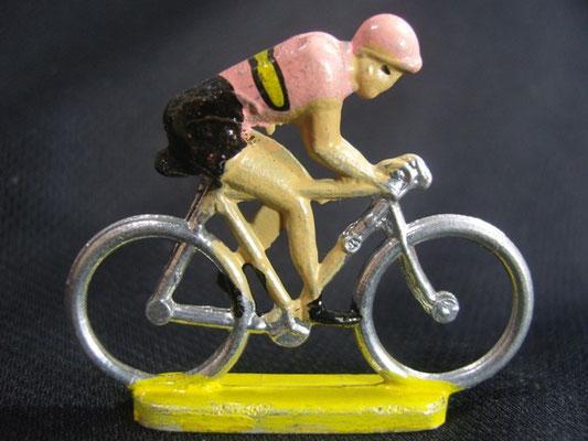 Cycliste Rouleur  Maillot Rose avec bande Jaune noir