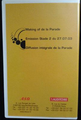 Cassette vidéo Le Tour de France 1903-2003  Sommaire au dos